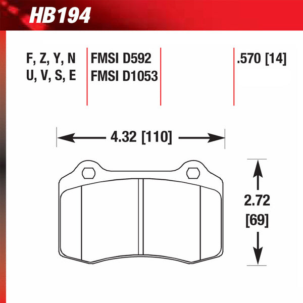 Hawk HB194G.570 Racing Pad - DTC-60 Compound