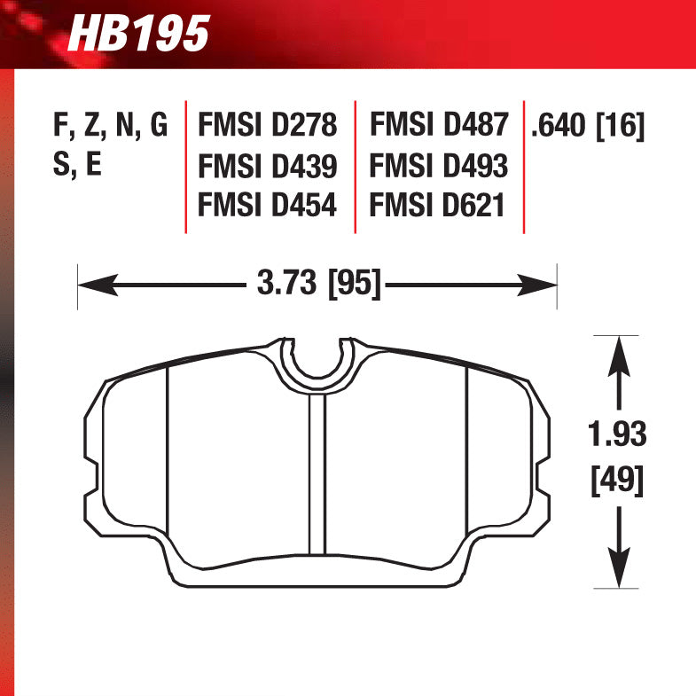 Hawk HB195S.640 Racing Pad - HT-10 Compound