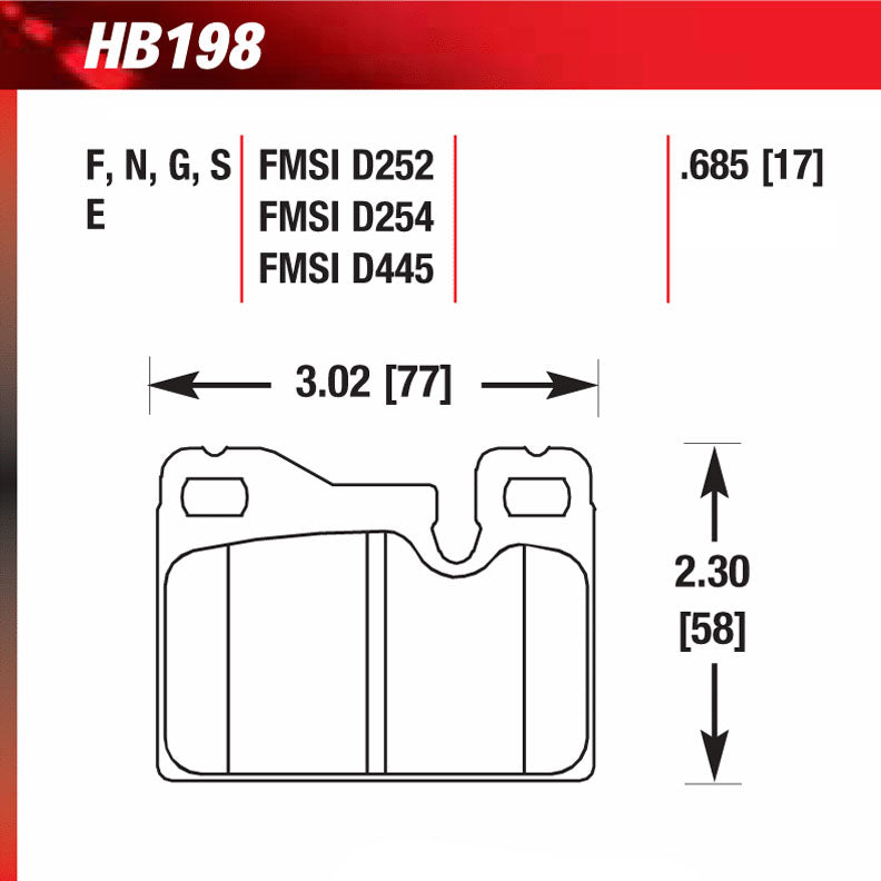 Hawk HB198G.685 Racing Pad - DTC-60 Compound