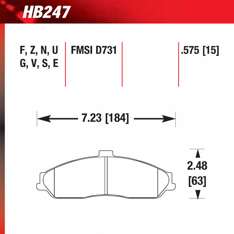 Hawk HB247G.575 Racing Pad - DTC-60 Compound