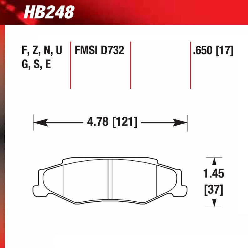 Hawk HB248U.650 Racing Pad - DTC-70 Compound