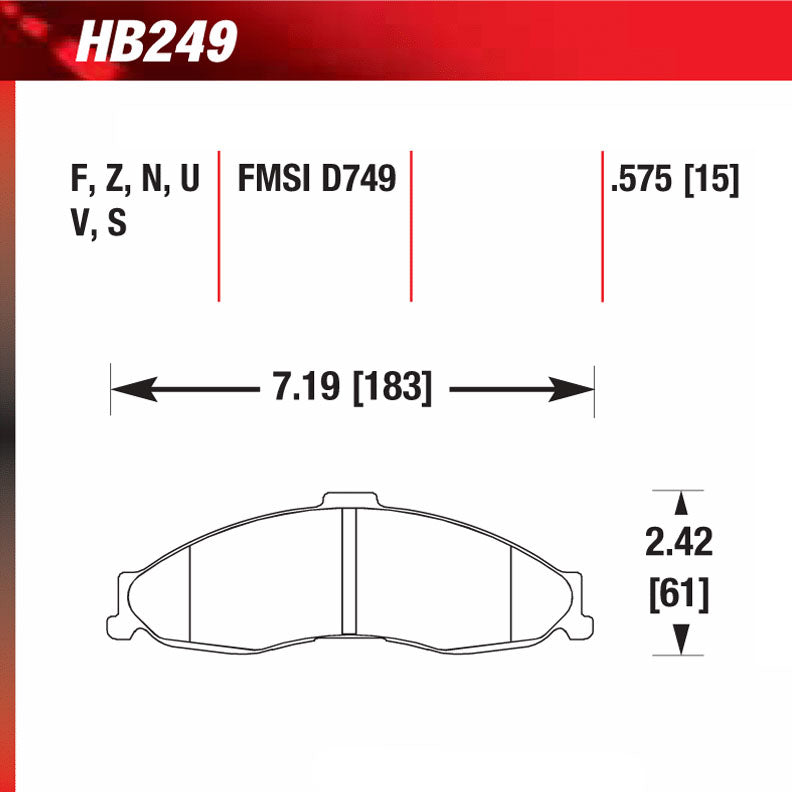 Hawk HB249V.575 Racing Pad - HT-14 Compound