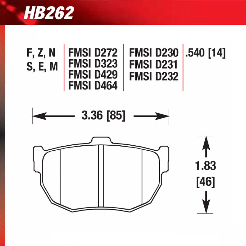Hawk HB262F.540 Street Performance Pad - HPS Compound