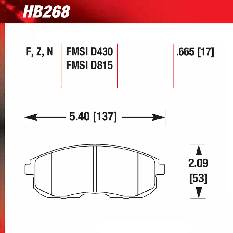 Hawk HB268F.665 Street Performance Pad - HPS Compound