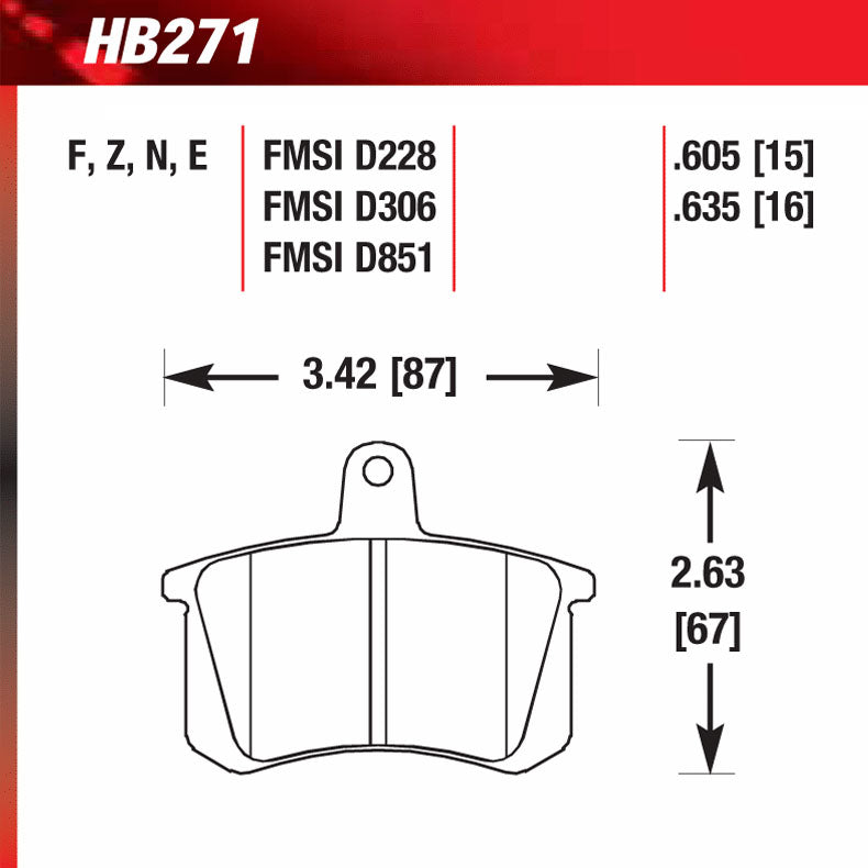Hawk HB271F.635 Street Performance Pad - HPS Compound