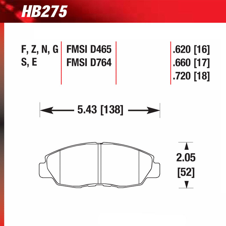 Hawk HB275W.620 Racing Pad - DTC-30 Compound