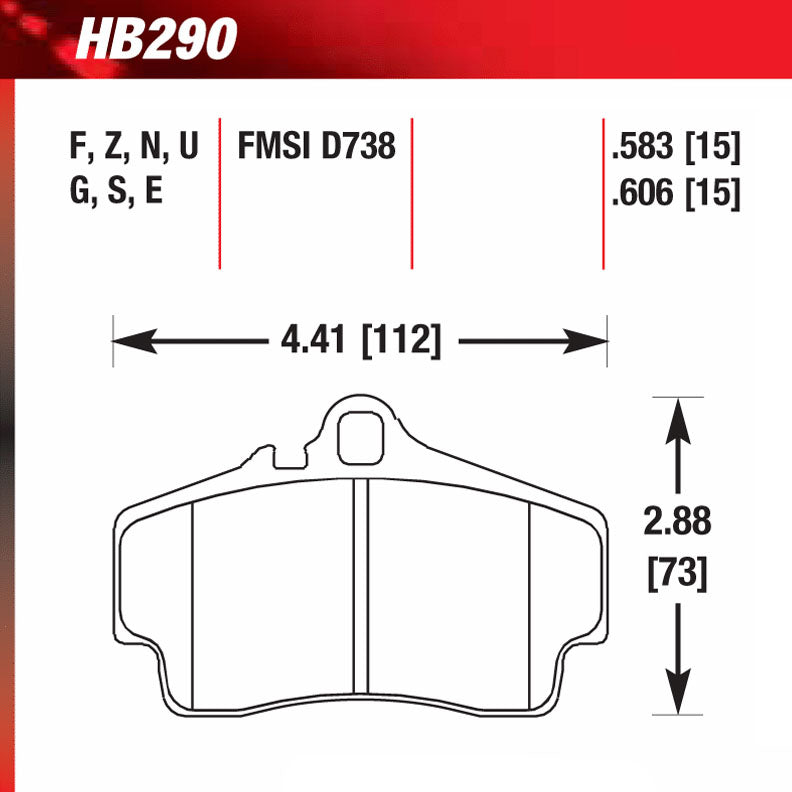 Hawk HB290S.583 Racing Pad - HT-10 Compound