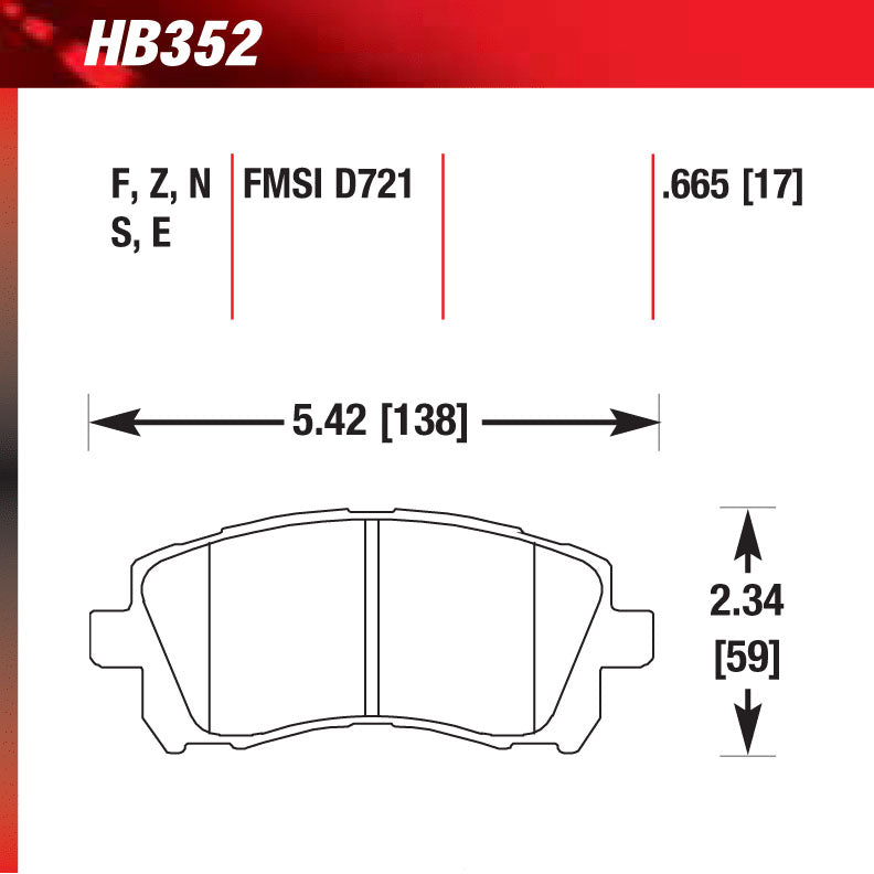 Hawk HB352S.665 Racing Pad - HT-10 Compound