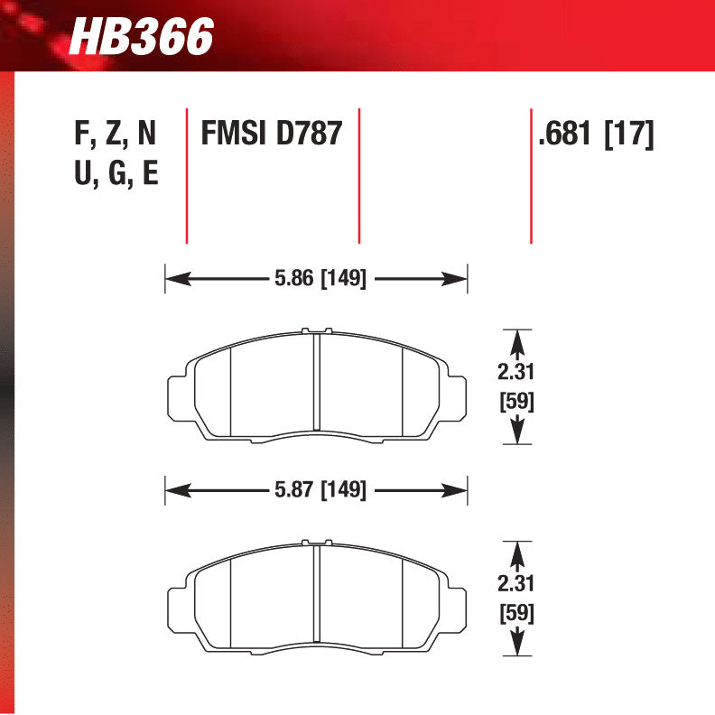 Hawk HB366U.681 Racing Pad - DTC-70 Compound