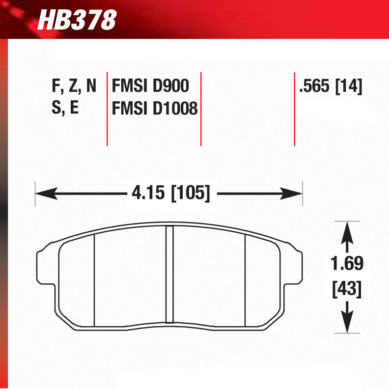 Hawk HB378S.565 Racing Pad - HT-10 Compound