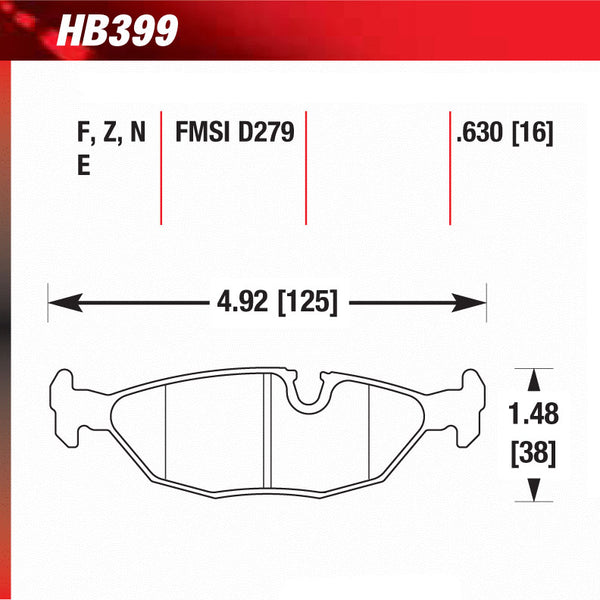 Hawk HB399U.630 Racing Pad - DTC-70 Compound