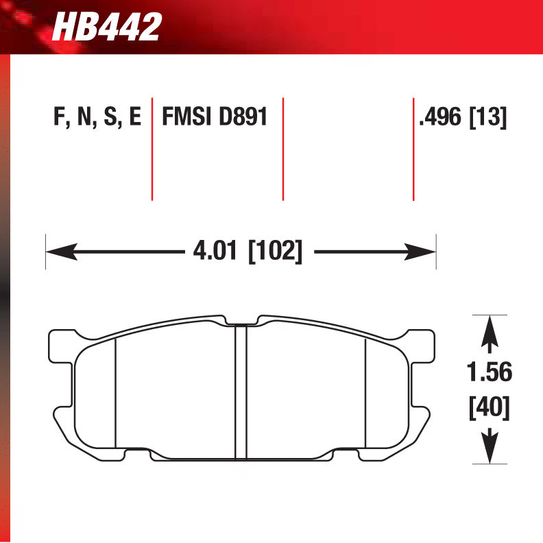 Hawk HB442S.496 Racing Pad - HT-10 Compound