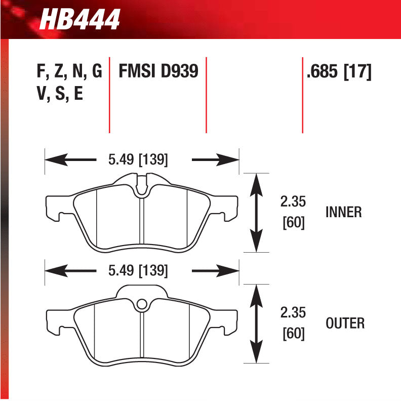 Hawk HB444G.685 Racing Pad - DTC-60 Compound