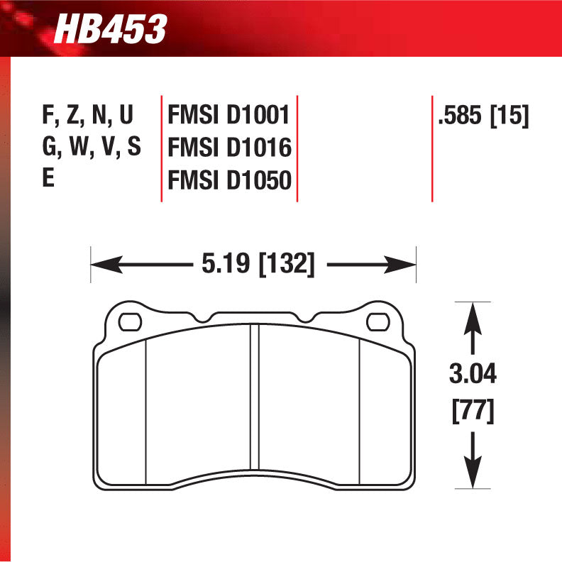 Hawk HB453G.585 Racing Pad - DTC-60 Compound