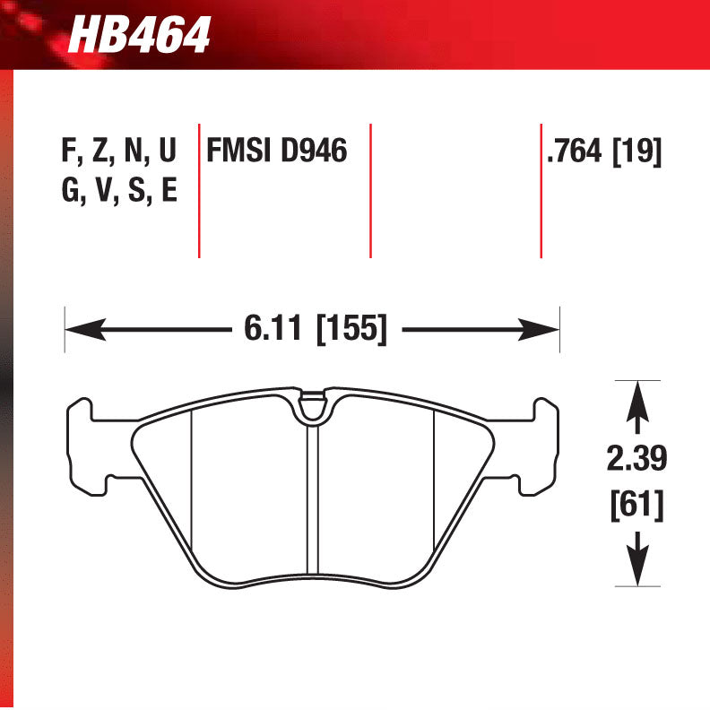 Hawk HB464G.764 Race Pad - DTC-60 Compound