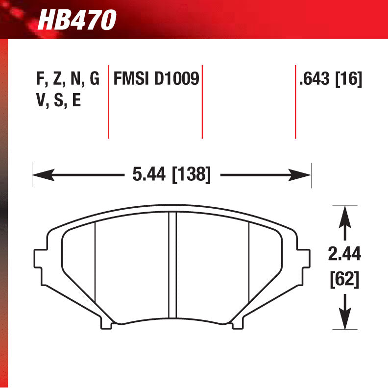 Hawk HB470S.643 Racing Pad - HT-10 Compound