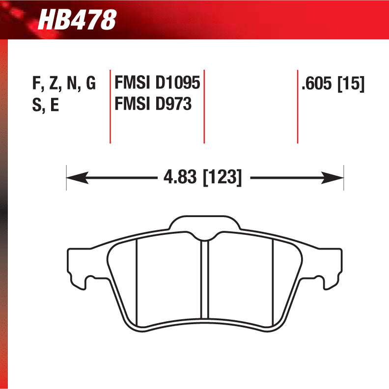 Hawk HB478N.605 Performance Pad - HP Plus Compound