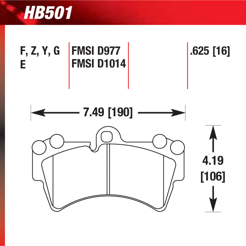 Hawk HB501G.625 Racing Pad - DTC-60 Compound