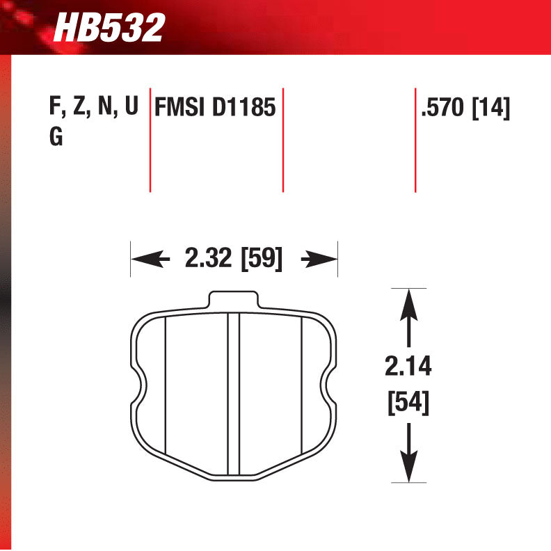 Hawk HB532G.570 Racing Pad - DTC-60 Compound