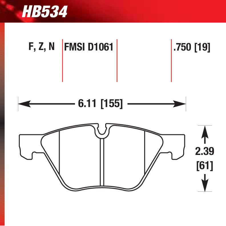 Hawk HB534S.750 Racing Pad - HT-10 Compound