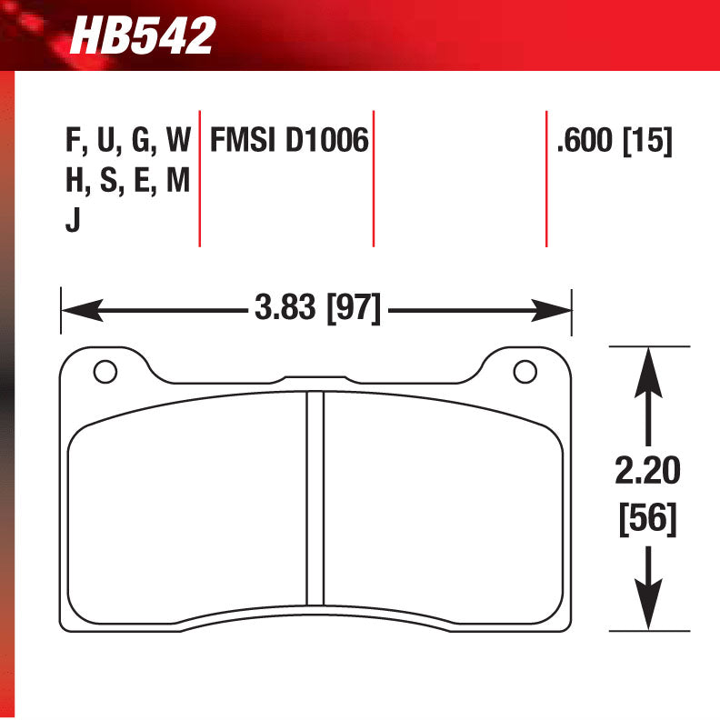 Hawk HB542G.600 Racing Pad - DTC-60 Compound
