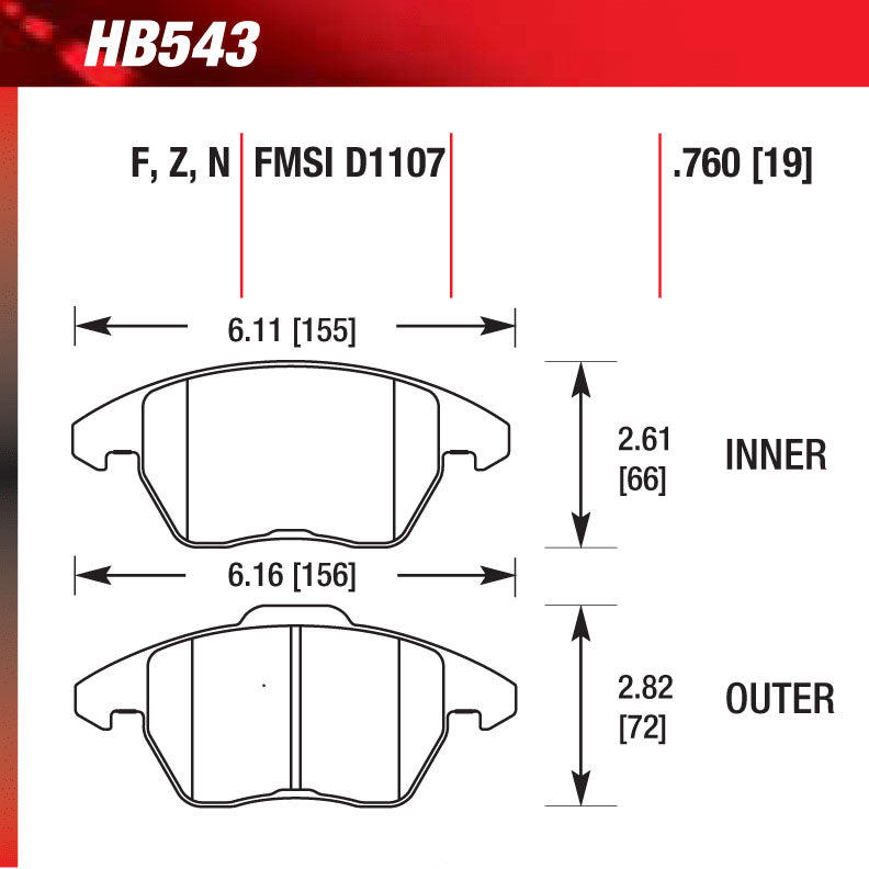 Hawk HB543G.760 Racing Pad - DTC-60 Compound