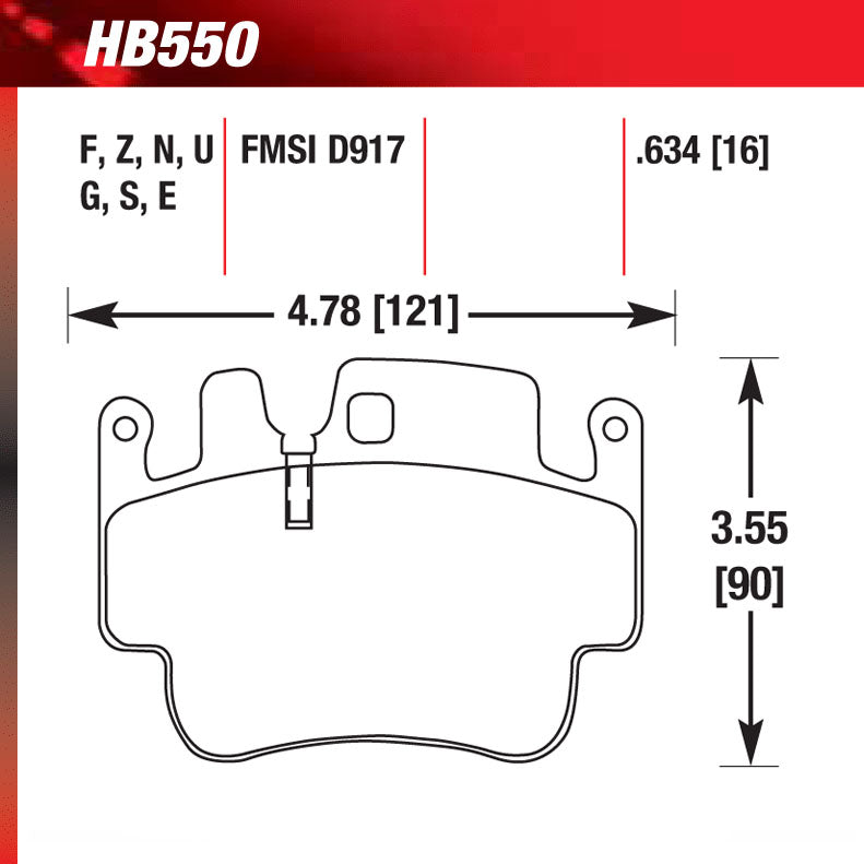 Hawk HB550G.634 Performance Pad - DTC-60 Compound