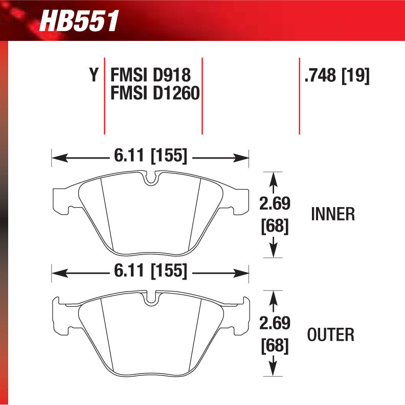 Hawk HB551N.748 Performance Pad - HP Plus Compound