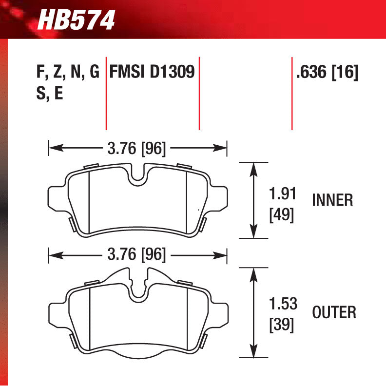 Hawk HB574G.636 Racing Pad - DTC-60 Compound