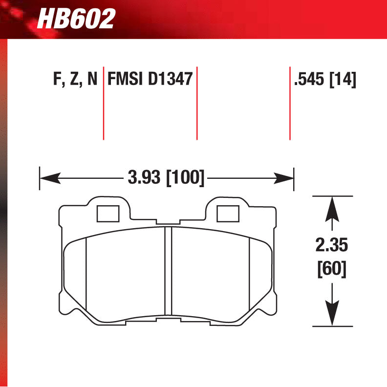 Hawk HB602Z.545 Street Performance Pad - Ceramic Street Pad
