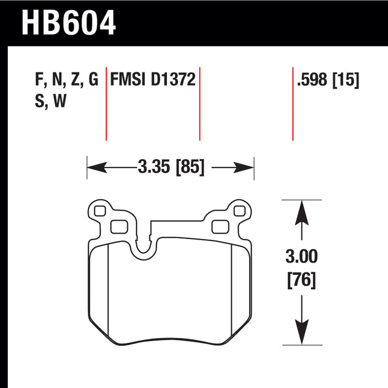 Hawk HB604G.598 Racing Pad - DTC-60 Compound