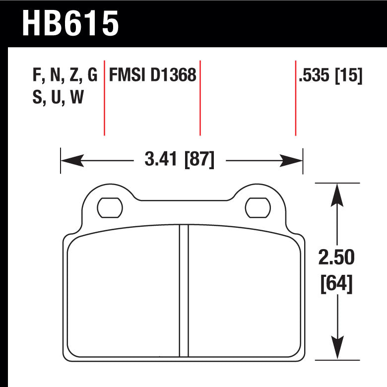 Hawk HB615F.535 Street Performance Pad - HPS Compound