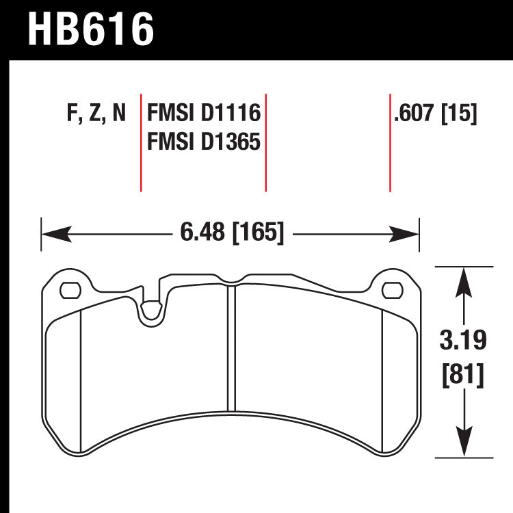 Hawk HB616G.607 Racing Pad - DTC-60 Compound