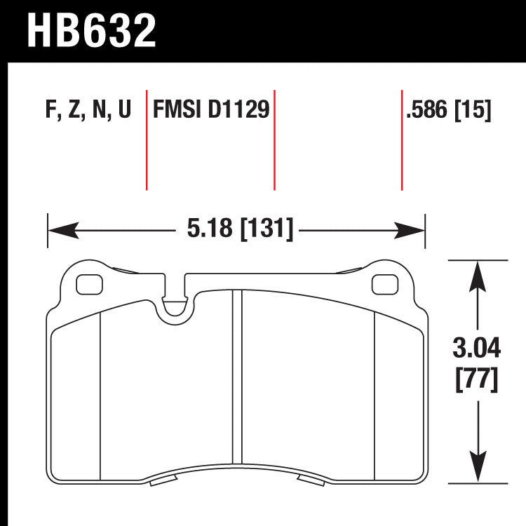 Hawk HB632N.586 Performance Pad - HP Plus Compound