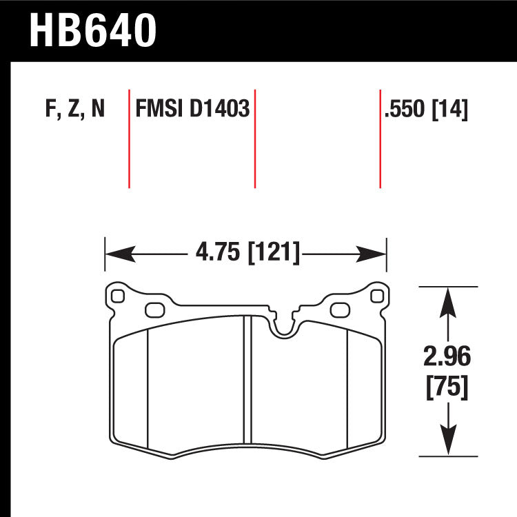 Hawk HB640N.550 Performance Pad - HP Plus Compound