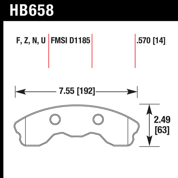 Hawk HB658U.570 Racing Pad - DTC-70 Compound