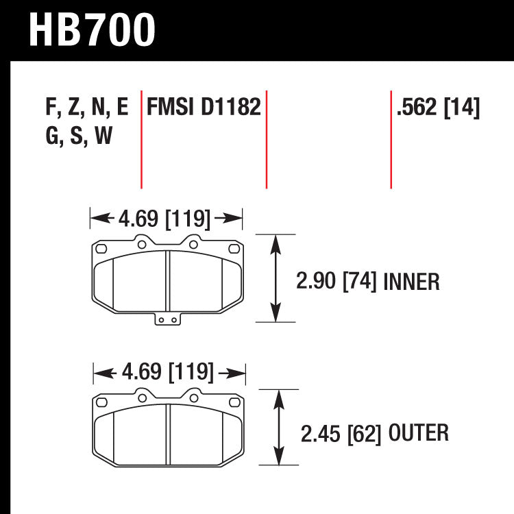 Hawk HB700W.562 Racing Pad - DTC-30 Compound