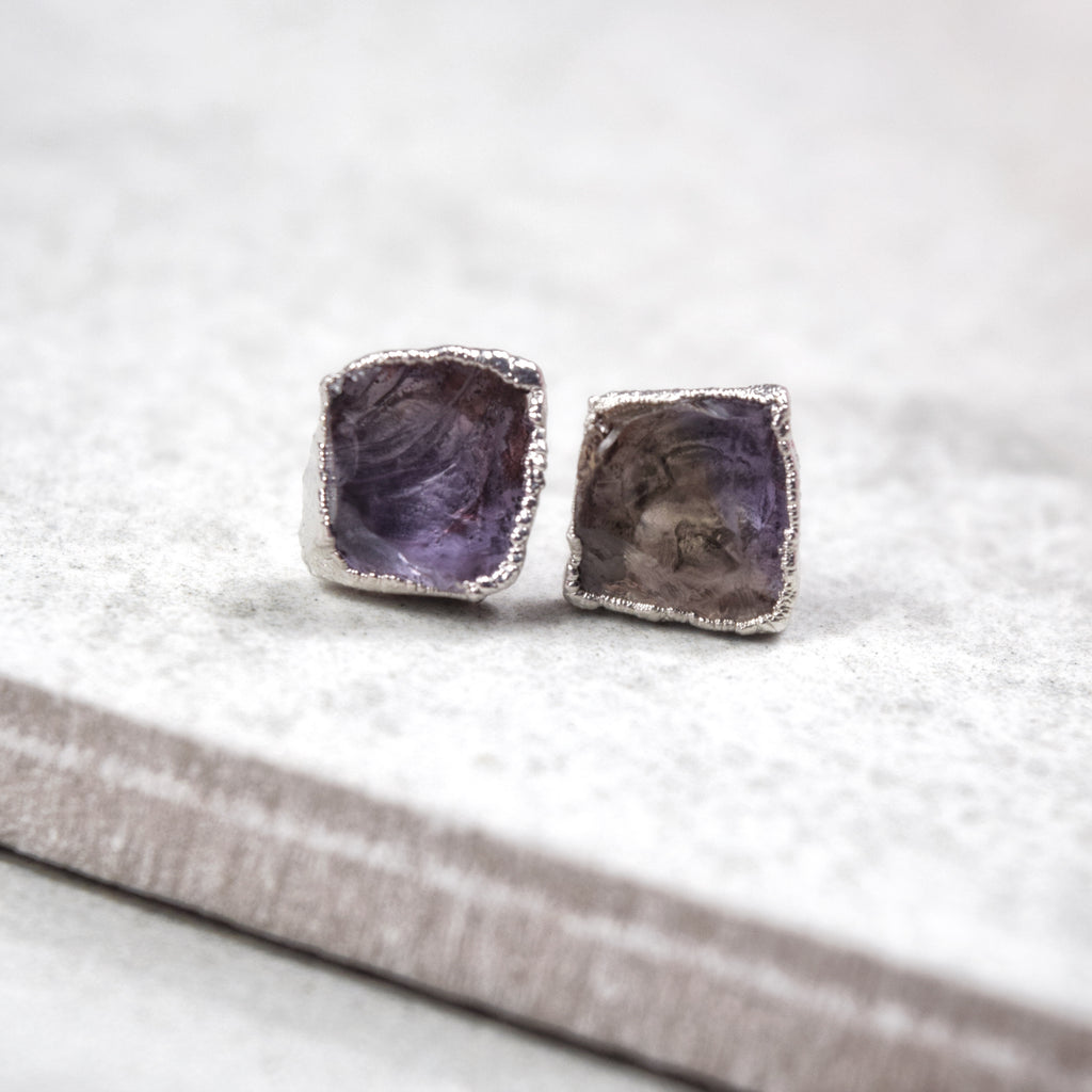 Rhodium Ametrine Studs - Maverick Objects