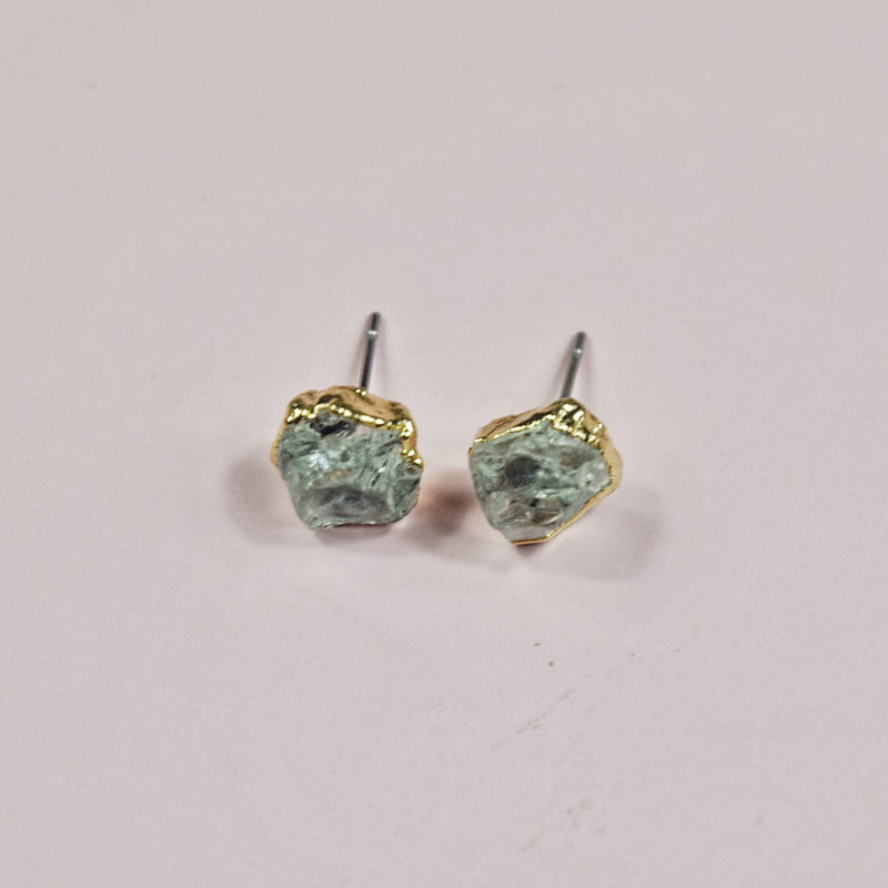 Gold Green Amethyst Studs - Maverick Objects