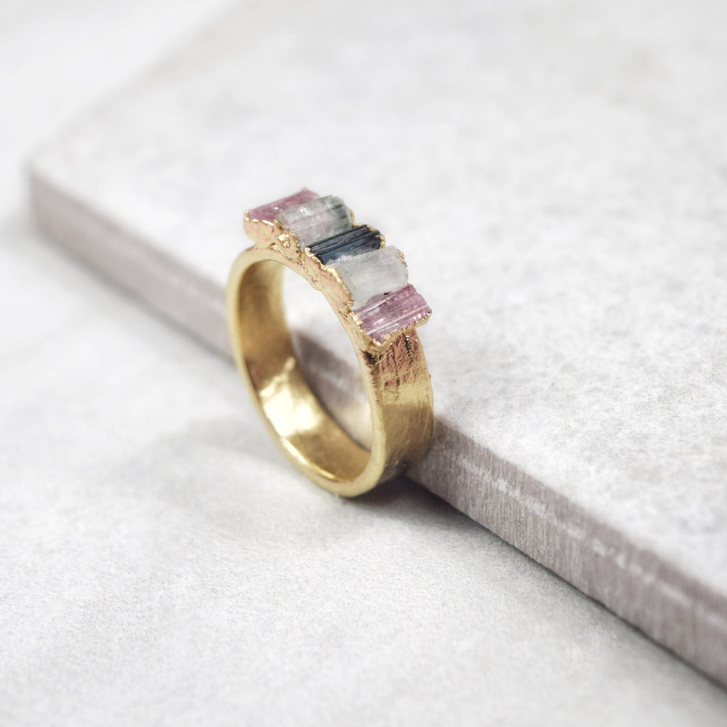 Gold Tourmaline Statement Ring - Maverick Objects