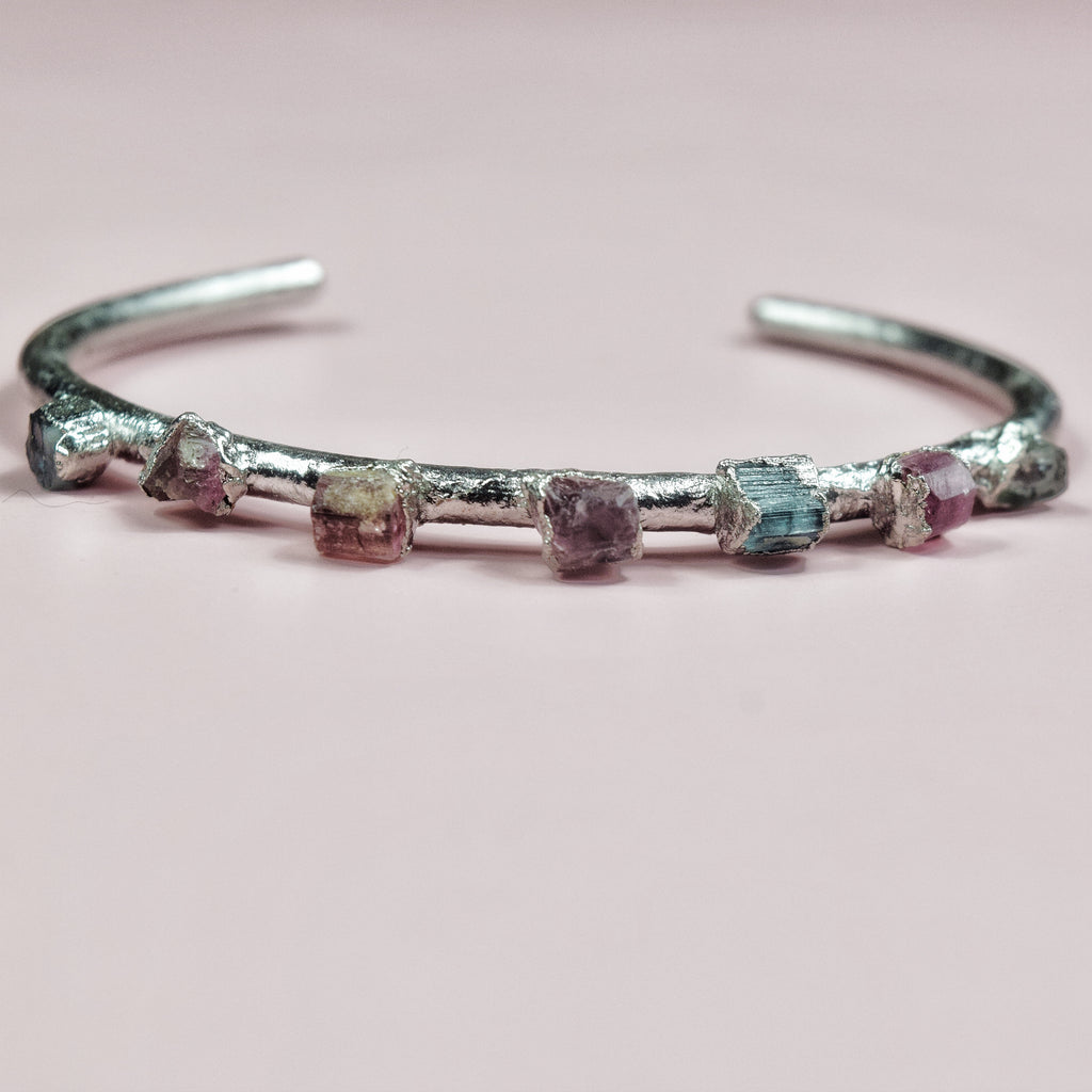Tourmaline Sheer Cuff | Rhodium - Maverick Objects