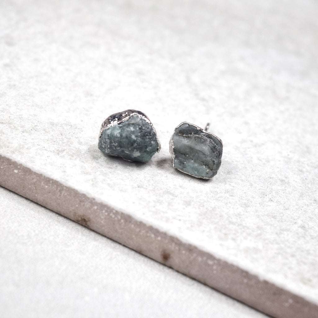 Rhodium Emerald Studs - Maverick Objects