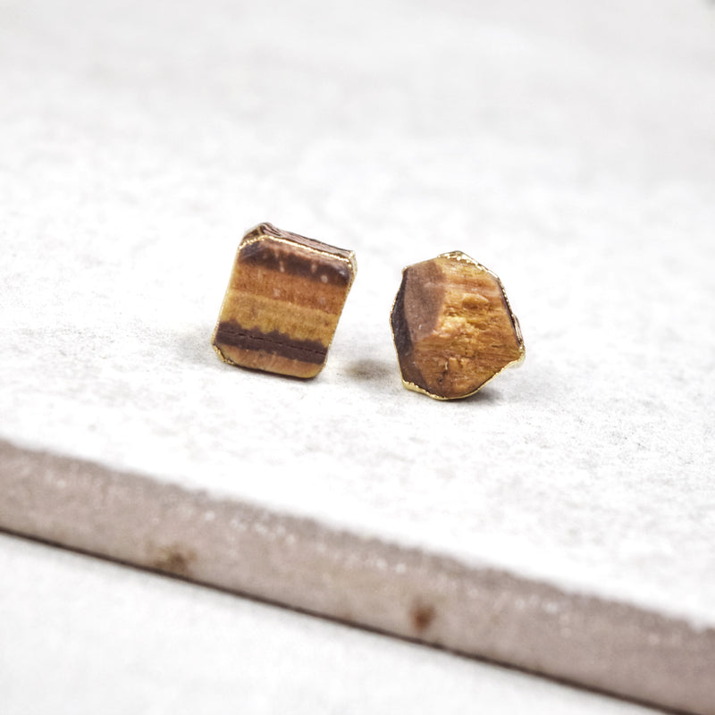 Gold Tiger's Eye Studs - Maverick Objects