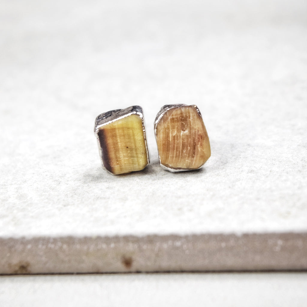 Rhodium Tiger's Eye Studs - Maverick Objects