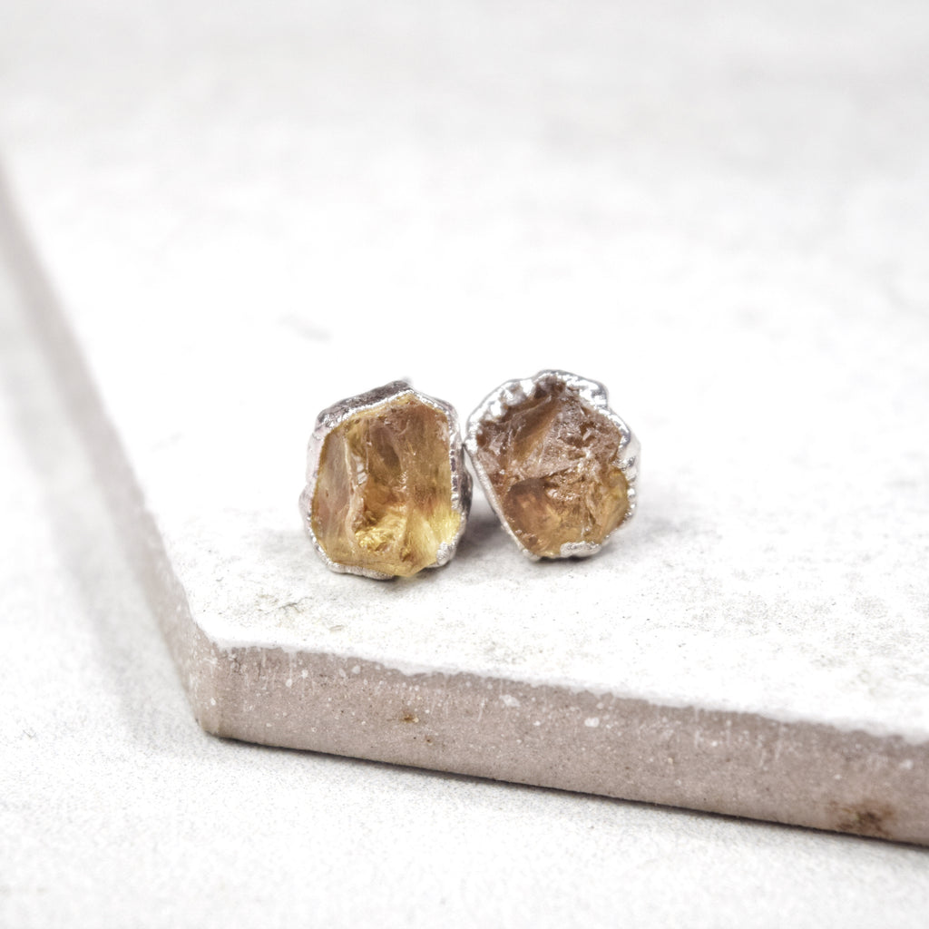 Rhodium Citrine Studs - Maverick Objects