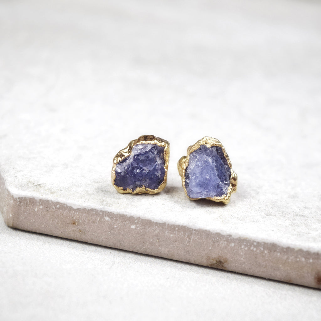 Gold Tanzanite Studs - Maverick Objects