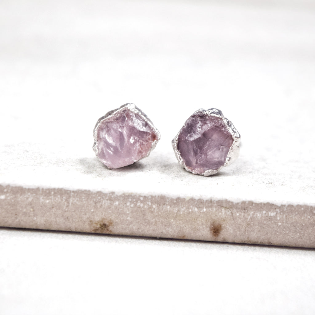 Rhodium Rose Quartz Studs - Maverick Objects