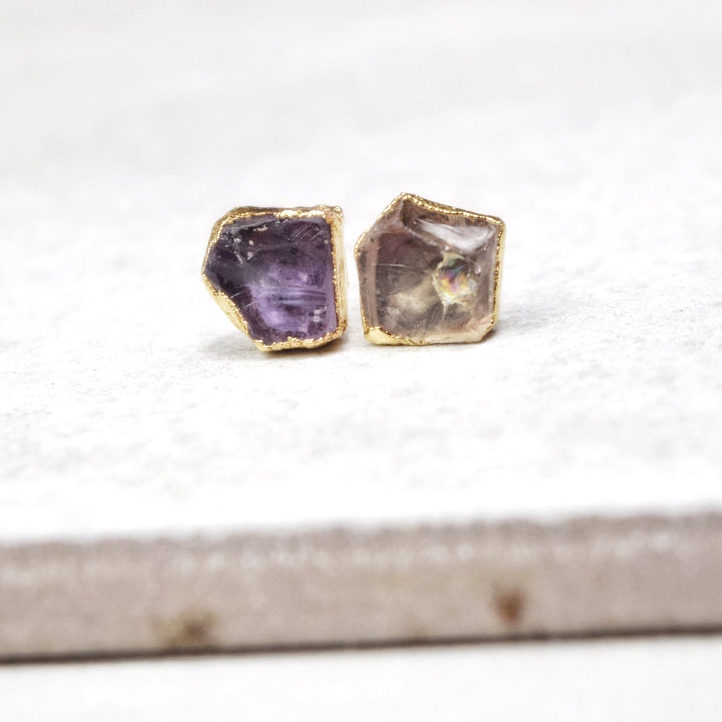 Gold Ametrine Studs - Maverick Objects