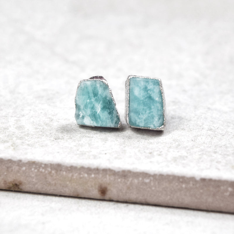 Rhodium Amazonite Studs - Maverick Objects