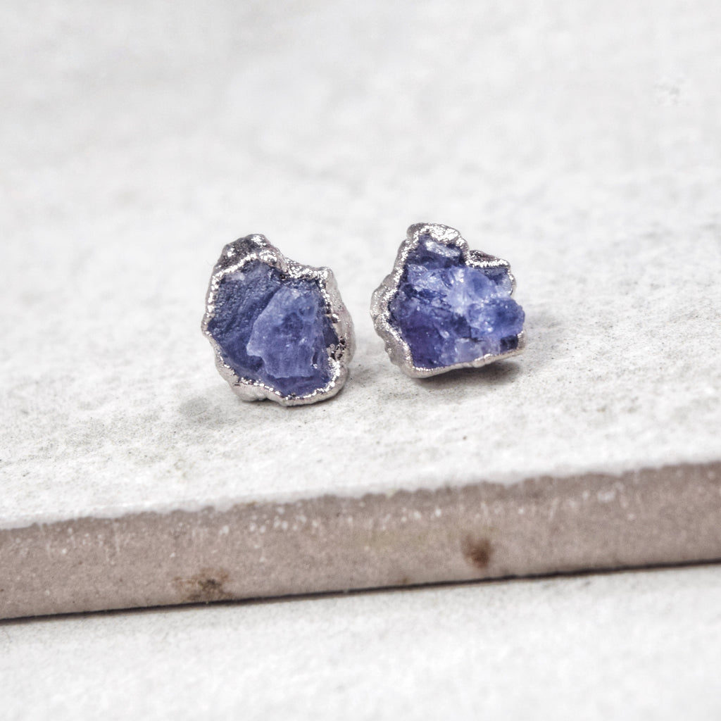 Rhodium Tanzanite Studs - Maverick Objects